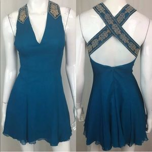 Vintage Beaded Silk Chiffon Turquoise 70's Dress